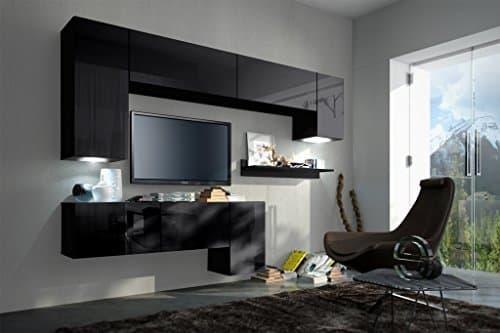 FUTURE 5 Moderne Wohnwand, Exklusive Mediamöbel, TV-Schrank, Neue Garnitur, Große Farbauswahl (RGB LED-Beleuchtung Verfügbar)