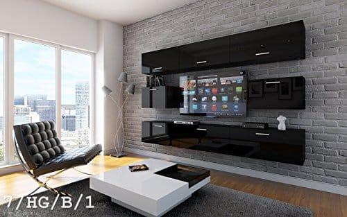 FUTURE 7 Wohnwand Anbauwand Wand Schrank TV-Schrank Möbel Wohnzimmer Wohnzimmerschrank Hochglanz Weiß Schwarz LED RGB Beleuchtung