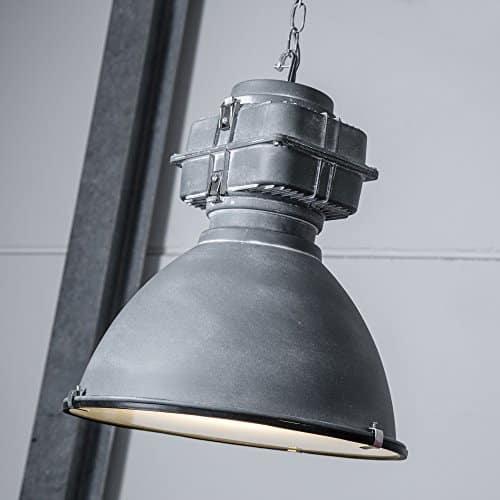 Industry Vintage Design Pendelleuchte im Loft-Style lackiert, Glasscheibe, 1x E27 max. 60W, Metall / Glas, grau antik