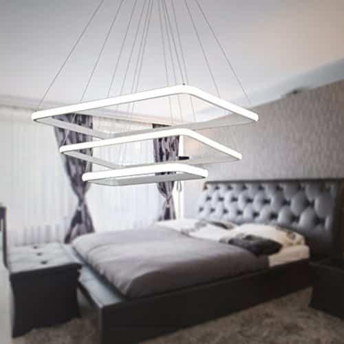 SZYSD 80W LED Aluminium Design Hängelampe Drei Ringe Deckenlampe Pendelleuchte Kreative Kronleuchter Lüster Licht