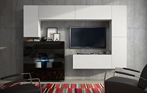 Wohnwand FUTURE 8 Anbauwand Moderne Wohnwand, Matt Schwarz Weiß Exklusive Mediamöbel, TV-Schrank, Neues Set, Beleuchtung LED RGB