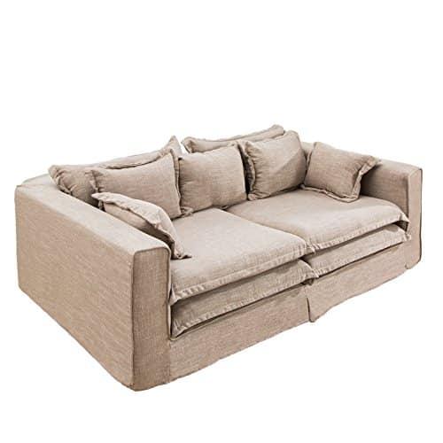 XXXL Sofa CLOUD sand Leinen Stoff Hussen 230cm Couch Big Sofa Leinenstoff Textilsofa Hussensofa Hussenstoff