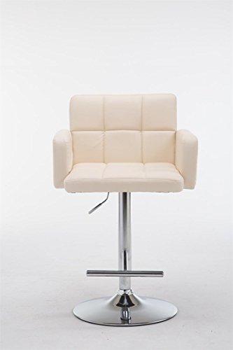 CLP Design-Barhocker LOS ANGELES mit Lehne, Kunstleder-Bezug, höhenverstellbar 64 - 84 cm, Sitz drehbar Creme