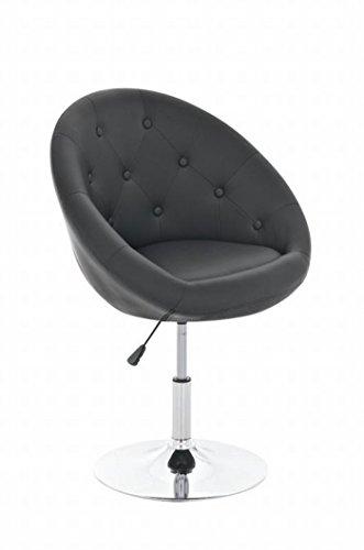 SIKALO höhenverstellbarer Designer Dreh-Sessel; Lounge-Möbel für das Büro, Empfangs-Räume; Bars; Cafés; Cocktailsessel für rückenschonendes Sitzen mit schwarzem Kunstleder-Polster