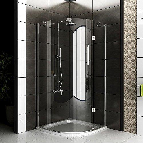 Duschkabine 3-teilig als Runddusche, Echtglas Duschabtrennung ca. 90x90x200 cm aus ESG Sicherheitsglas und Schwingtür mit Glasveredelung, die Viertelkreis Dusche von Alpenberger