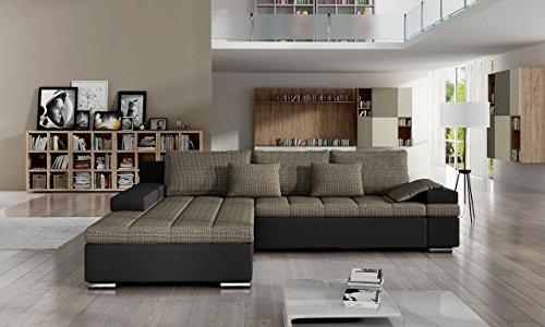 OUTLET !! Design Ecksofa Bangkok, Eckcouch mit Bettkasten und Schlaffunktion, Ecksofa für Wohnzimmer, L-Form Couch, Wohnlandschaft (Soft 011 + Azj 05, Ecksofa: Links)