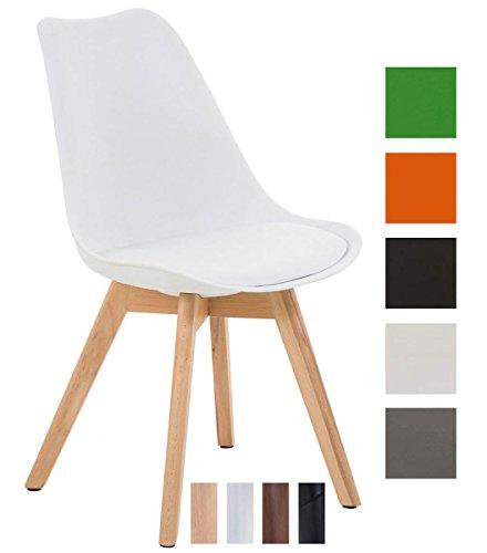 clp design retro stuhl borneo holzgestell sitz kunststoff kunstleder gepolstert wei. Black Bedroom Furniture Sets. Home Design Ideas