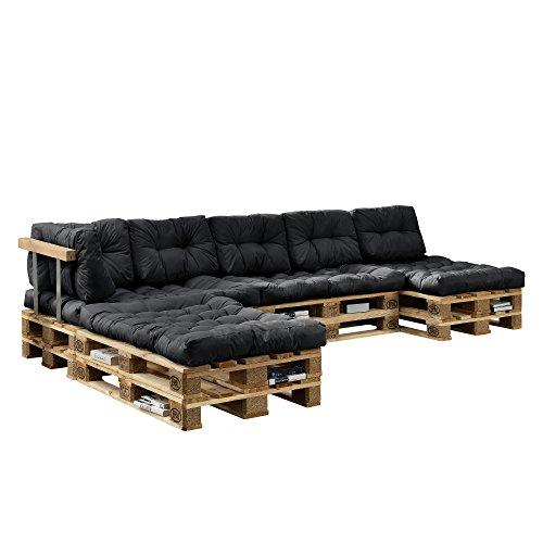 [en.casa] Euro Paletten-Sofa - DIY Möbel - Indoor Sofa mit Paletten-Kissen / Ideal für Wohnzimmer - Wintergarten (4 x Sitzauflage und 6 x Rückenkissen) Dunkelgrau