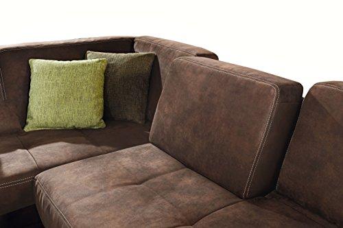 cavadore eckcouch cytaro in wildlederoptik und kontrastnaht couch l form mit ottomanen links. Black Bedroom Furniture Sets. Home Design Ideas