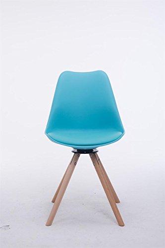 clp design retro stuhl troyes rund kunststoff lehne kunstleder sitz drehbar gepolstert blau. Black Bedroom Furniture Sets. Home Design Ideas