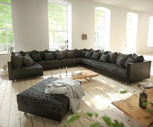 Couch Clovis modular - Ecksofa, Sofa, Wohnlandschaft & Modulsofa (Schwarz/Schwarz, Sofa XXL Rechts mit Hocker)
