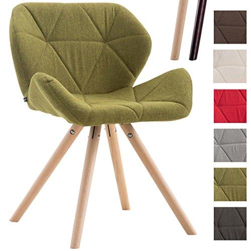 CLP Design Retro-Stuhl TYLER, Bein-Form rund, Stoff-Sitz gepolstert, Buchenholz-Gestell, Grün, Gestellfarbe: Natura