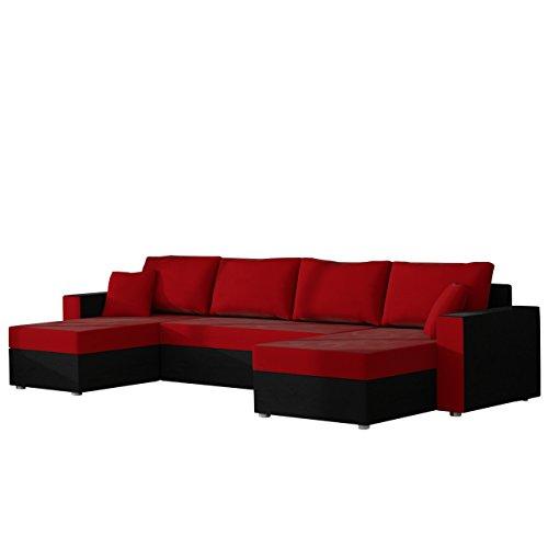 Ecksofa Sofa Couchgarnitur Couch Rumba Style! Wohnlandschaft mit Schlaffunktion und Bettkasten, Ecksofa in U-Form, Polstermöbel, Farbauswahl, Kissen-set (Alova 04 + Alova 46)