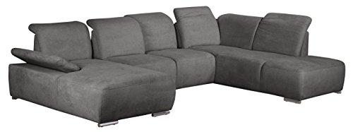 Cavadore Wohnlandschaft Tabagos / U-Form mit Ottomane rechts / XXL Couch mit Sitztiefenverstellung / Verstellbare Rückenlehnen / 364 x 85 x 248 (B x H x T) / Farbe: Fango (grau)