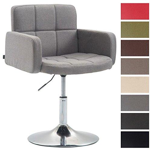 CLP Design Lounge Sessel LOS ANGELES mit Stoff-Bezug, Lounger drehbar / höhenverstellbar, Esszimmerstuhl mit Trompetenfuß in Chromoptik Grau