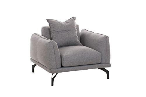 CLP Design Sessel LUCIEN mit Stoffbezug, dicke Polsterung und breite Sitzfläche, langlebiger Sitzkomfort Grau