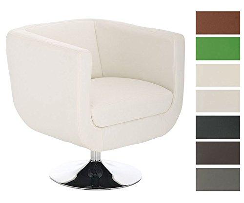 CLP Design Leder-Loungesessel COLORADO im Retro-Stil, rund, drehbar Weiß