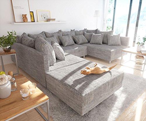Couch Clovis modular - Ecksofa, Sofa, Wohnlandschaft & Modulsofa (Hellgrau, Sofa mit Hocker)