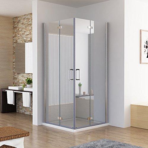90 x 90 x 195 cm Duschkabine Eckeinstieg Dusche Falttür 180º Duschwand Duschabtrennung NANO Glas