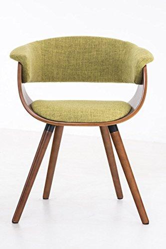 CLP Esszimmer-Stuhl PIRMA Stoffbezug, Holzgestell walnuss, Gastro-Stuhl mit Armlehne Grün