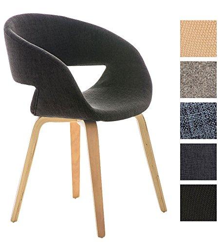 CLP Besucher-Stuhl PANO mit Armlehne, gepolstert, Holzgestell, modern Dunkelgrau