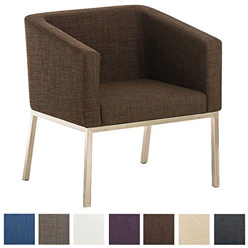 CLP Edelstahl Lounge-Sessel NALA Stoff im Retro-Stil, mit Armlehne, Polsterstärke 8 cm, bis zu 7 Farben wählbar, Sitzhöhe 44 cm Braun