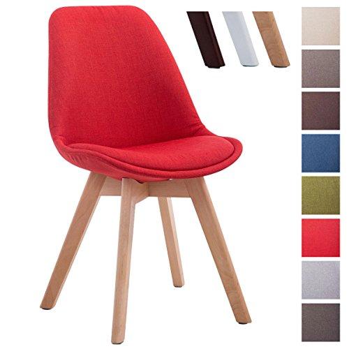 CLP Design Retro Stuhl BORNEO V2, Besucherstuhl mit Holz-Gestell, Küchenstuhl mit Stoff-Bezug Rot, Gestellfarbe: natura