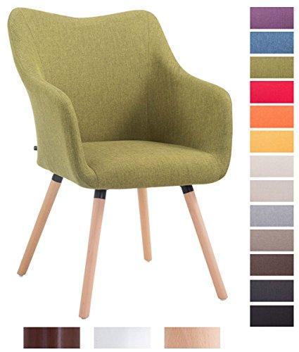 CLP Design Besucher-Stuhl MCCOY V2 mit Armlehne, Stoff-Bezug, Holz-Gestell, Sitzfläche gepolstert Grün, Gestellfarbe: natura