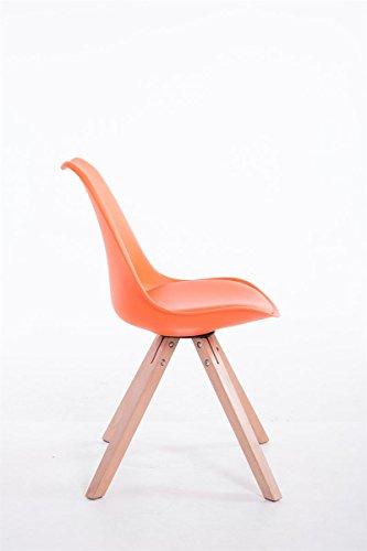 CLP Design Retro-Stuhl TOULOUSE SQUARE, Kunststoff-Lehne, Kunstleder-Sitz gepolstert Orange, Holzgestell Farbe natura, Bein-Form eckig