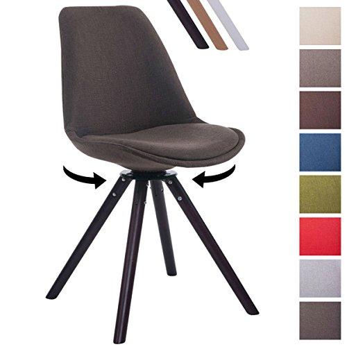 CLP Design Retro-Stuhl TROYES RUND, Stoff-Sitz, gepolstert, drehbar Dunkelgrau, Holzgestell Farbe walnuss, Bein-Form rund