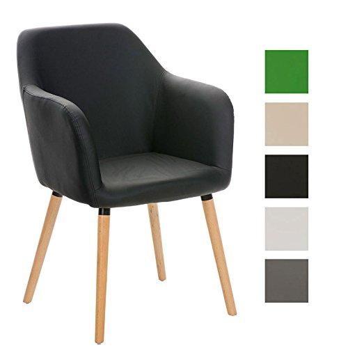 CLP Besucher Design-Stuhl PICARD, Holzgestell, Sitzfläche gut gepolstert, modern Schwarz
