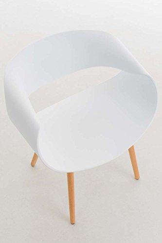 CLP Besucherstuhl TUVA mit Kunststoffsitzschale, Wartezimmerstuhl, Kunststoffstuhl mit Holzgestell, Buchenholz, Loft Stuhl, max. Belastbarkeit 150 kg, Weiß