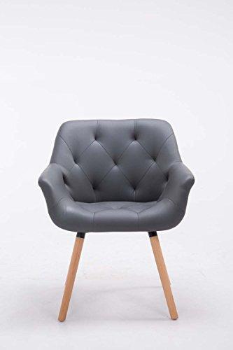 CLP Besucher-Stuhl CASSIDY, Kunstleder-Bezug, belastbar bis 150 kg, Retro-Stuhl mit Armlehne, sesselförmiger Sitz, gepolstert, Sitzhöhe 45 cm Grau, Holzgestell Farbe natura