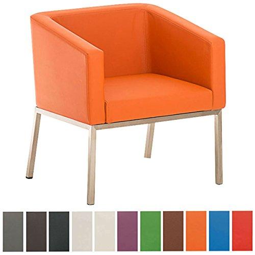 CLP Retro Edelstahl Lounge-Sessel NALA, mit Armlehne, Sitzhöhe 44 cm, 8 cm Polster Orange