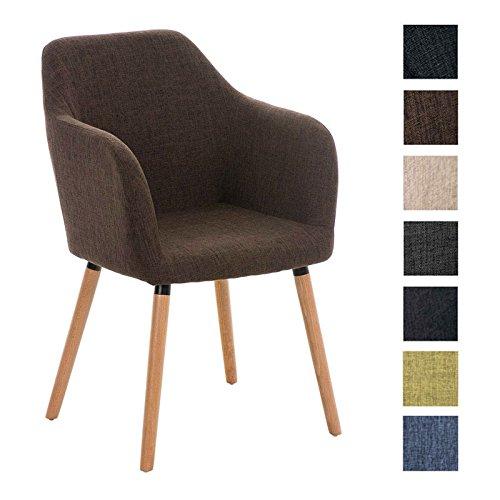 CLP Besucher Design-Stuhl PICARD, Holzgestell, Stoffbezug, gut gepolsterte Sitzfläche, modern Braun