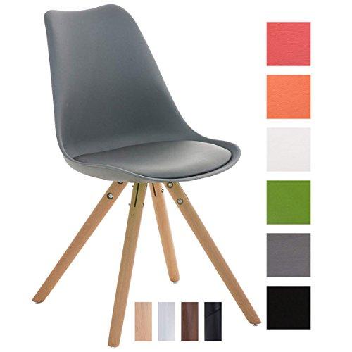 CLP Design Retro Stuhl PEGLEG, Schalenstuhl Sitzhöhe 46 cm, gepolstert, Sitz Kunststoff / Kunstleder Grau, Holzgestell natura