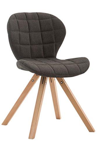 CLP Design Retro-Stuhl ALYSSA, Bein-Form square, Stoff-Sitz gepolstert, Lounge-Sessel, Buchenholz-Gestell, Dunkelgrau, Gestellfarbe: Natura