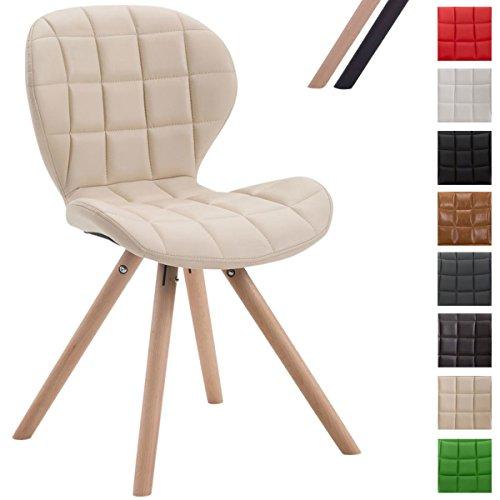 CLP Design Retro-Stuhl ALYSSA, Bein-Form rund, Kunstleder-Sitz gepolstert, Lounge-Sessel, Buchenholz-Gestell, Creme, Gestellfarbe: Natura