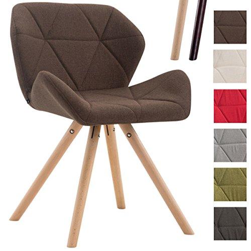 CLP Design Retro-Stuhl TYLER, Bein-Form rund, Stoff-Sitz gepolstert, Buchenholz-Gestell, Braun, Gestellfarbe: Natura