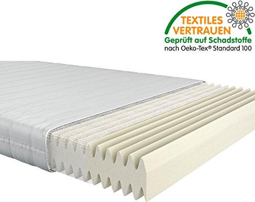 Fairmat orthopädische 7-Zonen Matratze | Komfortschaummatratze im Wellenschnitt | 16cm Gesamthöhe | Härtegrad H3 | Größe 100x200cm