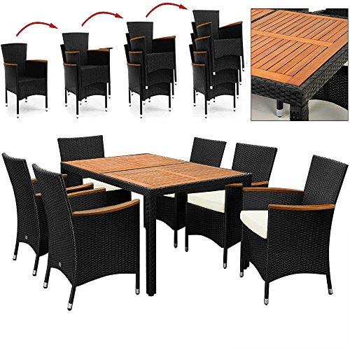Deuba® 6+1 Poly Rattan Sitzgruppe ✔7cm dicke Sitzauflagen creme ✔Holztisch und Holz Armlehnen ✔Stühle stapelbar - Terassenmöbel Gartengarnitur Sitzgarnitur Garten Möbel Set