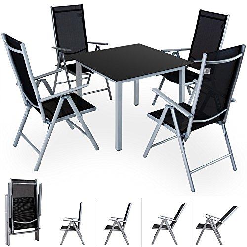 Deuba® Alu Sitzgruppe 4+1 Sitzgarnitur Gartengarnitur Tischplatte aus Glas + klappbare und neigbare Stühle 7fach verstellbar【Modellauswahl】