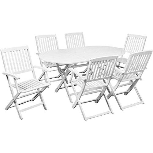 Festnight 7-tlg. Sitzgruppe Sitzgarnitur Gartenmöbel aus Akazienholz für 6 Personen mit 160 x 85 m Tisch Weiß