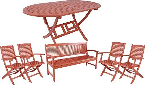 Garden Pleasure Gartengarnitur Stockholm 6 tlg Sitzgruppe aus geöltem FSC Eukalyptus Tisch + 4 Stühle + 1 Bank Sitzgruppe für 7 Personen Ovaler Klapptisch mit Schirmloch