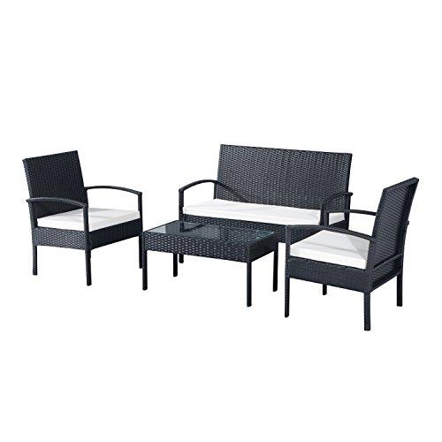 Outsunny® Polyrattan Sitzgruppe Garnitur Lounge Sofa Gartenset 7 tlg. mit Kissen, Schwarz