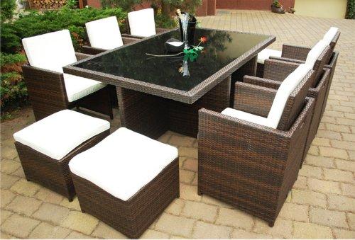 PolyRattan Set DEUTSCHE MARKE -- EIGNENE PRODUKTION 7 Jahre GARANTIE Garten Möbel incl. Glas und Polster Ragnarök-Möbeldesign (BRAUN) Gartenmöbel Tisch - Stuhl - Hocker - Abdeckung …