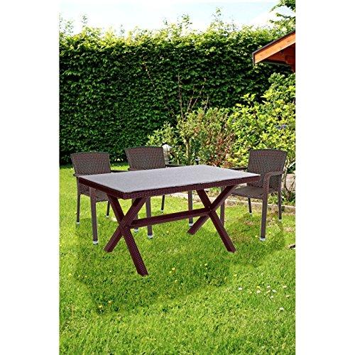 Sitzgruppe Gartenset Garten 7tlg Stapelstuhl Essgruppe Terrasse Tisch Stuhl