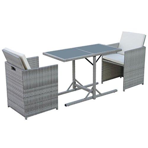 vidaXL Poly Rattan Gartenmöbel Set 7-tlg. Grau Gartengarnitur Sitzgarnituren