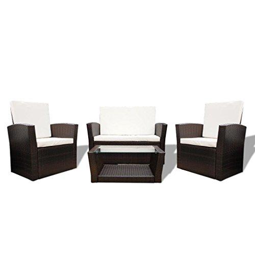 vidaXL Poly Rattan Gartensofa Set 10-tlg. Braun Gartengarnitur Lounge Sitzgruppe