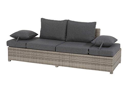 Gartenbank 2 Sitzer aus Polyrattan Geflecht grau inkl. Kissen. Die klappbare Bank ist wetterfest, ideal für Garten, Terrasse und Balkon.